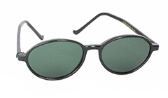 Sort oval solbrille i unisex design